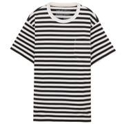 粗棉线条纹圆领短袖T恤
