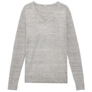 法国亚麻棉V领毛衣