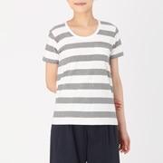 粗细不均匀棉线圆领短袖T恤(条纹)