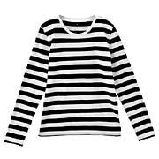 棉圆领长袖T恤(条纹)