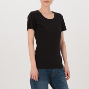 棉罗纹编织圆领短袖T恤