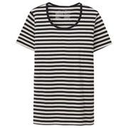 棉罗纹编织圆领短袖T恤(条纹)