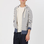 粗细不均棉线毛圈双拉链卫衣