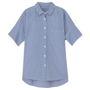宽版短袖格子衬衫