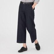棉弹力牛仔宽版七分裤
