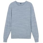 粗细不均棉线圆领毛衣