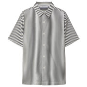 棉平织_短袖条纹衬衫
