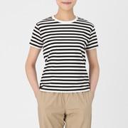 棉双罗纹 圆领条纹T恤