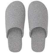 棉天竺 柔软拖鞋 M・23.5~25cm用 灰色条纹