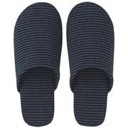 棉天竺 柔软拖鞋 L・25~26.5cm用 海军蓝条纹