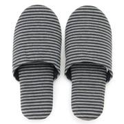 棉天竺 便携式拖鞋・M 混深蓝×混灰 22~24cm用