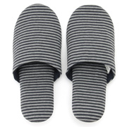 棉天竺 便携式拖鞋・L 混深蓝×混灰 25~27cm用