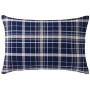 棉法兰绒 枕套  43×63cm用 海军蓝格纹