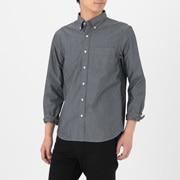 靛蓝染色棉 条纹纽扣领衬衫