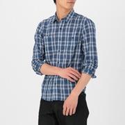 聚酯纤维棉 双口袋格子衬衫