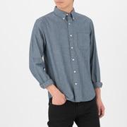 靛蓝染色棉 钱布雷纽扣领衬衫