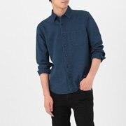 靛蓝染色棉 华夫格衬衫