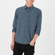 靛蓝染色棉 格子衬衫
