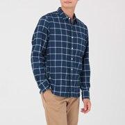 棉法兰绒 靛蓝染色格子衬衫