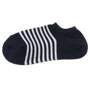 女式 棉混合脚直角 条纹运动船袜