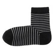 棉混合脚直角 袜口无橡筋条纹短袜