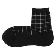 合脚直角 双色格纹图案短袜