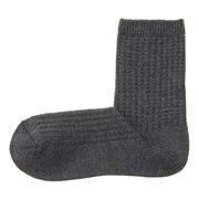 棉混合脚直角 华夫格编织袜