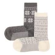 合脚直角 雪花 费尔岛图案2双装袜子