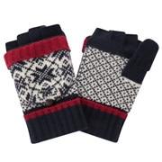 羊毛混纺 可作连指手套的 雪花图案半指手套