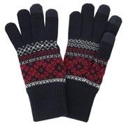 羊毛混纺 雪花图案触摸屏手套