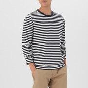 棉 条纹圆领长袖T恤