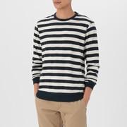 粗细不均棉线 条纹长袖T恤