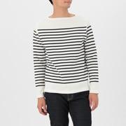 粗棉线 装饰条纹长袖T恤