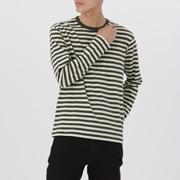 粗棉线条纹 圆领长袖T恤