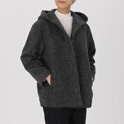羊毛混针织 带风帽大衣
