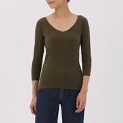 棉混保暖 V领八分袖衫