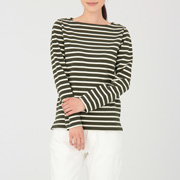 粗棉线 条纹长袖T恤