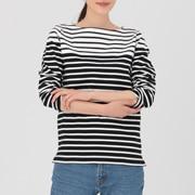 粗棉线 拼接色条纹长袖T恤