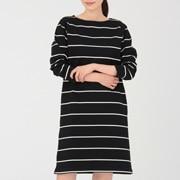 粗棉线 条纹长袖连衣裙