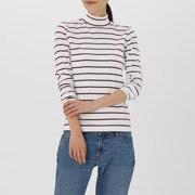 棉弹力 条纹高领T恤