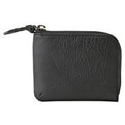 意大利产鞣制绉纹皮 L拉链零钱卡包