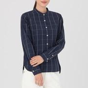 棉水洗 窗格纹立领衬衫