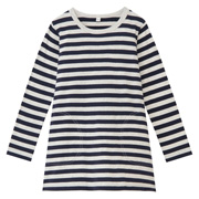 日常儿童 棉 条纹长袖束腰长上衣