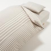 棉被套套装 米色 格纹 床用 被套 K 床罩 K 枕套 (2张) 50×70cm用