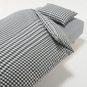 棉被套套装 炭灰色 格纹 床用 被套 K 床罩 K 枕套 (2张) 50×70cm用