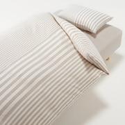 棉被套套装 米色 条纹 床用 被套 K 床罩 K 枕套 (2张) 50×70cm用