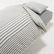 棉被套套装 炭灰色 条纹 床用 被套 K 床罩 K 枕套 (2张) 50×70cm用