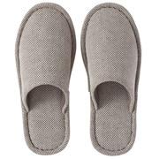 落棉混纺平织弹力拖鞋 25-26.5cm用/深棕色
