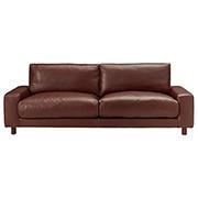 沙发主体 / 皮面宽扶手 / 3人座 / 羽绒羽毛 / 独立式樽型弹簧 / 茶色 / 长220×宽88.5×高79.5c