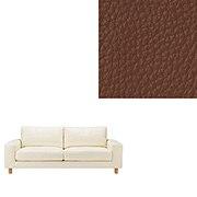 沙发主体 / 皮面宽扶手 / 2.5人座 / 羽绒羽毛 / 独立式樽型弹簧 / 茶色 / 长190×宽88.5×高79.